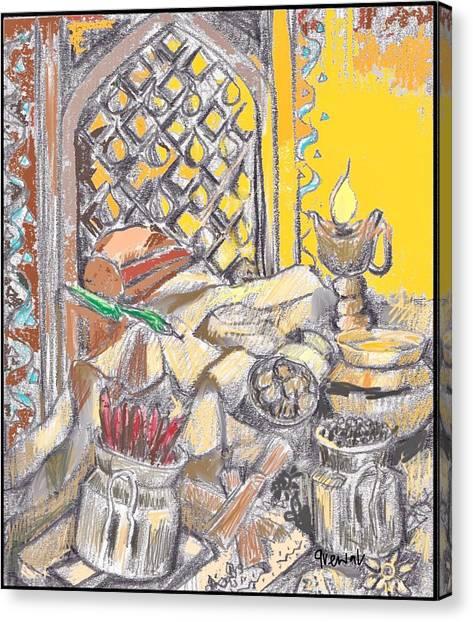 Sikh Art Canvas Print - Punjabi Kitchen Rasoi Still Life by Sukhpal Grewal