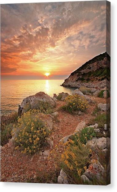 Sunset Horizon Canvas Print - Punta Rossa by Paolo Corsetti