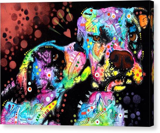 Boxers Canvas Print - Puppy Love by Dean Russo Art