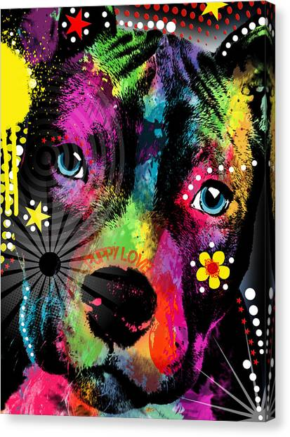 Pit Bull Canvas Print - Puppy  by Mark Ashkenazi