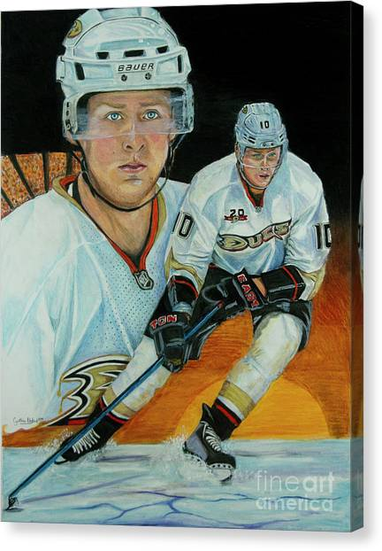 Anaheim Ducks Canvas Print - Pur Gold 3 by Cynthia Bluford Mejia