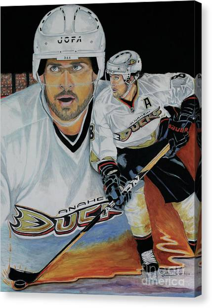 Anaheim Ducks Canvas Print - Pure Gold 2 by Cynthia Bluford Mejia