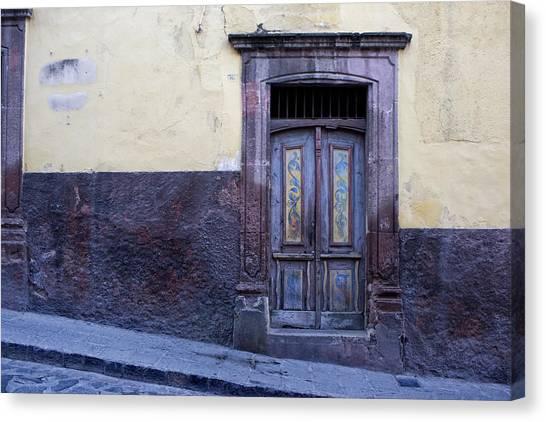 San Miguel De Allende Canvas Print - Purple And Blue Door Mexico by Carol Leigh