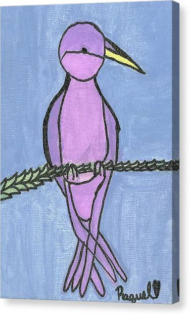 Purple Bird Perched Canvas Print by Fred Hanna