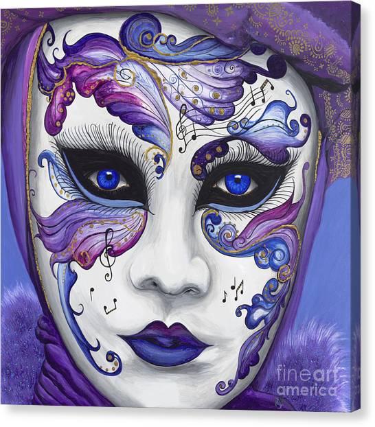 Mardi Gras Canvas Print - Purple Carnival Mask  by Patty Vicknair