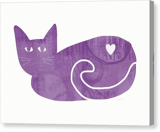 Kittens Canvas Print - Purple Cat- Art By Linda Woods by Linda Woods