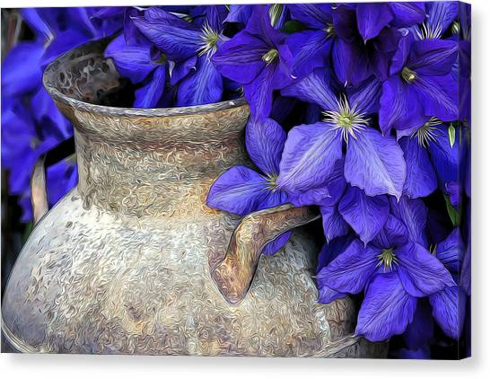 Purple Clematis And A Milk Can Canvas Print