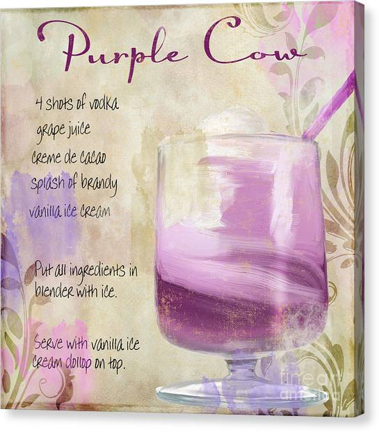 Bloody Mary Canvas Print - Purple Cow Mixed Cocktail Recipe Sign by Mindy Sommers
