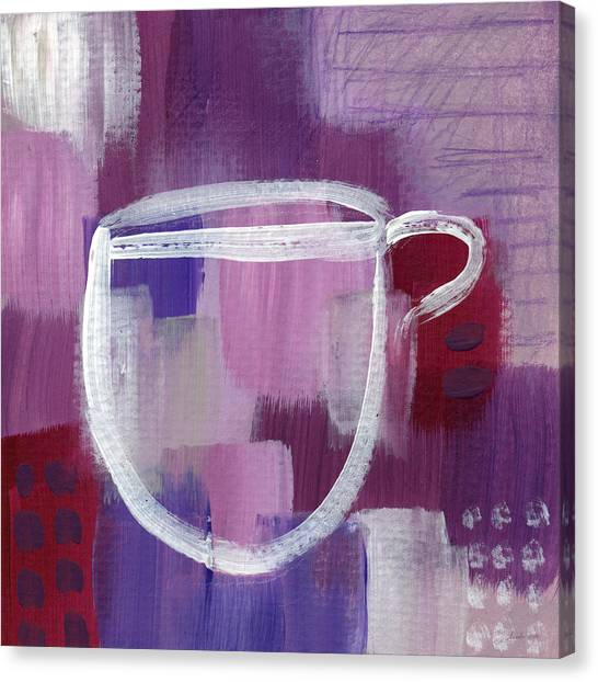 Tea Canvas Print - Purple Cup- Art By Linda Woods by Linda Woods