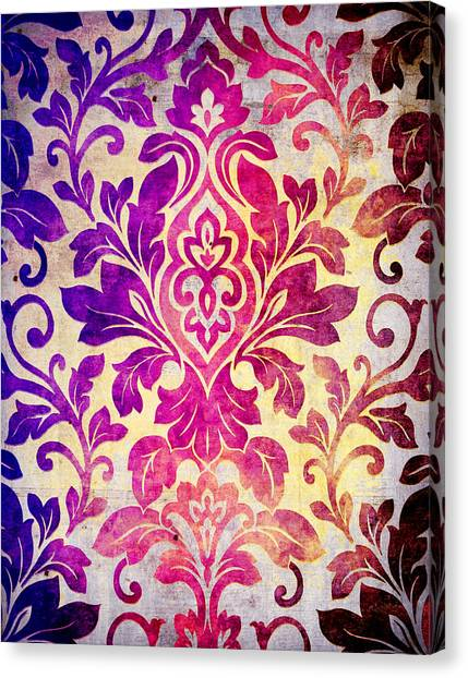 Purple Damask Pattern Canvas Print