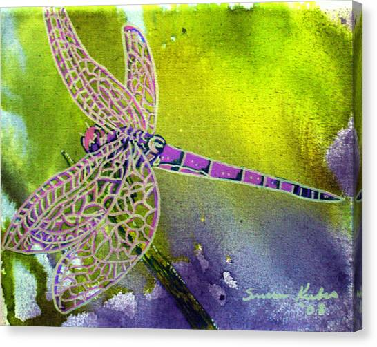 Purple Dragonfly Canvas Print by Susan Kubes
