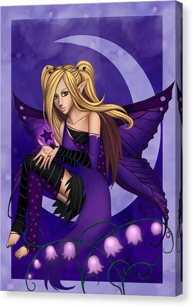 Purple Fairy Of Night Canvas Print by KimiCookie Williams