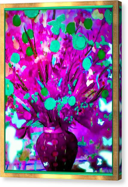 Purple Floral Canvas Print by HollyWood Creation By linda zanini