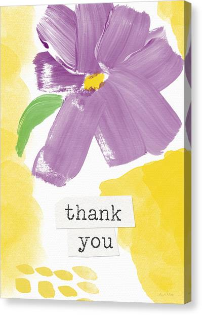 Thank Canvas Print - Purple Flower Thank You Card- Art By Linda Woods by Linda Woods