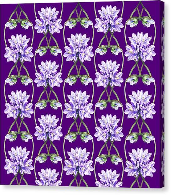 Wedding Bouquet Canvas Print - Purple Flowers Hearts Pattern by Irina Sztukowski