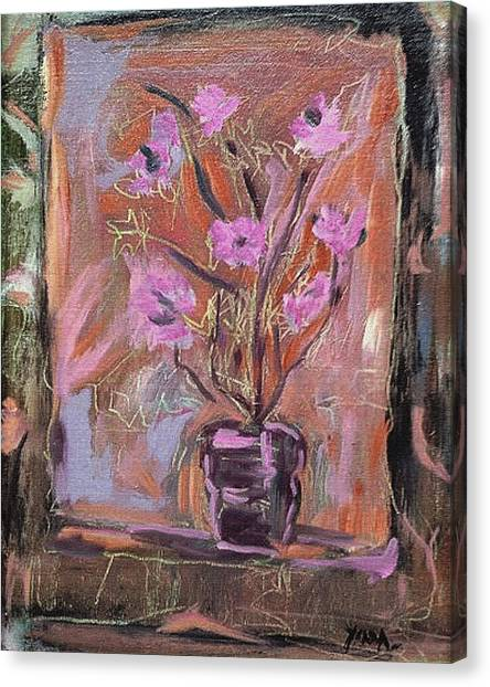 Purple Flowers In Vase Canvas Print