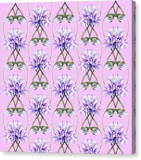 Wedding Bouquet Canvas Print - Purple Flowers Lace On Lilac Field by Irina Sztukowski
