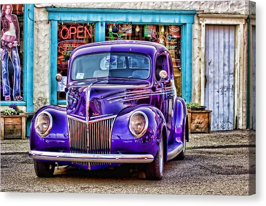 Old Hotrod Canvas Print - Purple Ford Deluxe by Carol Leigh