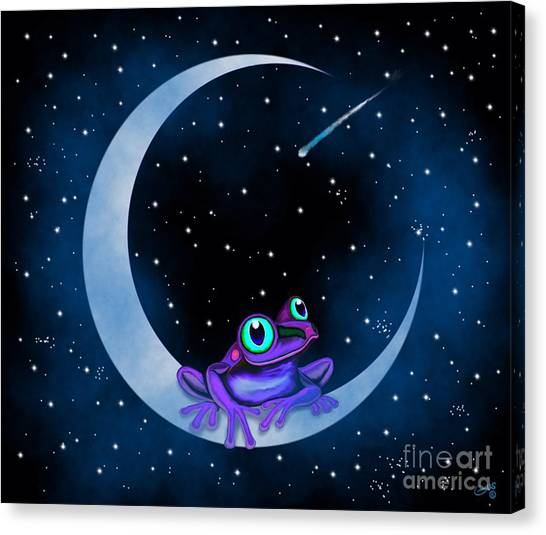 Canvas Print - Purple Frog On A Crescent Moon by Nick Gustafson