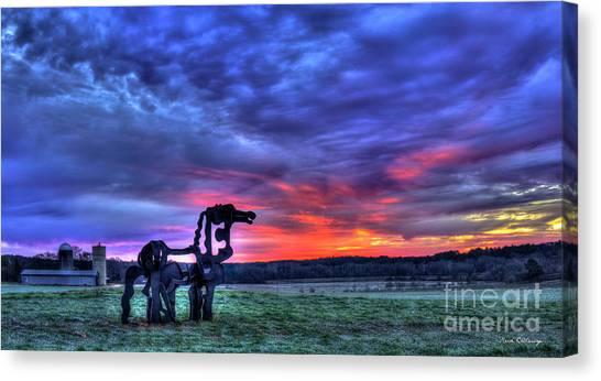 University Of Georgia Canvas Print - Purple Haze Sunrise The Iron Horse by Reid Callaway