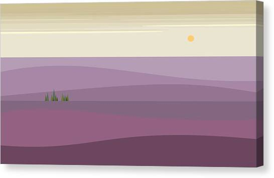 Rolling Hills Canvas Print - Purple Hilly Landscape by Val Arie