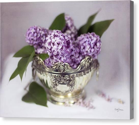 Purple Lilacs In Silver Bowl Canvas Print