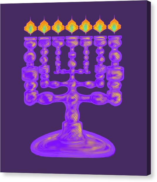 Purple Menorah Flamed Canvas Print