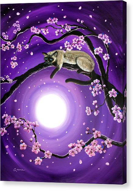 Siamese Canvas Print - Purple Moonlight Sakura by Laura Iverson