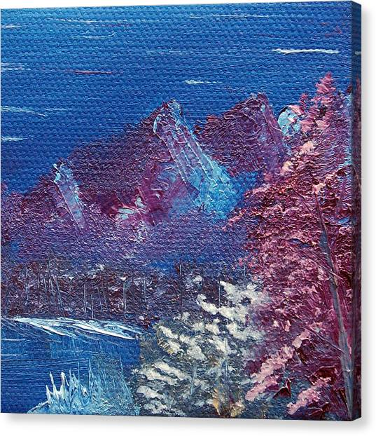 Bob Ross Canvas Print - Purple Mountain Landscape by Jera Sky
