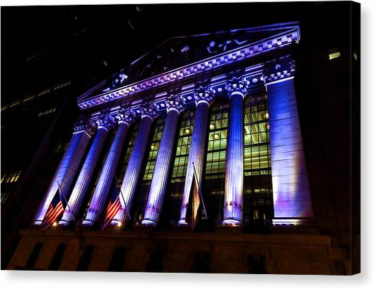 Purple New York Stock Exchange At Night - Impressions Of Manhattan Canvas Print