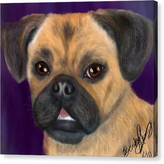 Purple Pug Portrait Canvas Print
