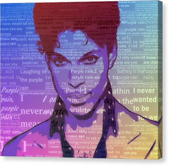 Purple Rain Typography Canvas Print