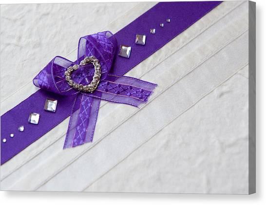 Purple Ribbon Heart Canvas Print