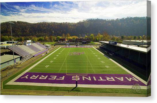 Ohio Valley Canvas Print - Purple Rider Stadium by Flying Dreams