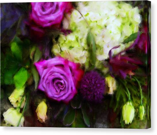 Purple Roses With Hydrangea Canvas Print