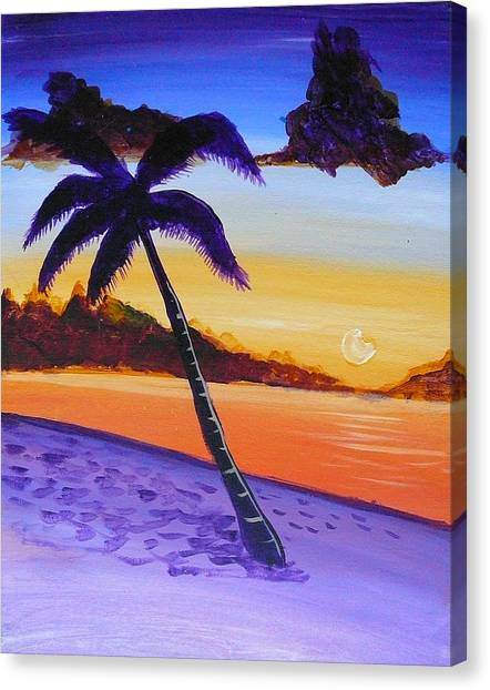 Purple Sand Palm Tree Canvas Print