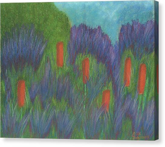 Purple Strife And Cattails Canvas Print