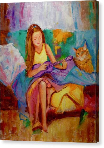 Main Coons Canvas Print - Purple Ukulele by Marina Wirtz
