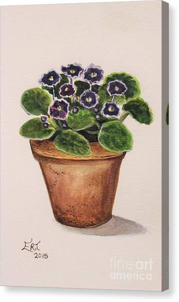 Garden Canvas Print - Purple Violets by Elizabeth Robinette Tyndall