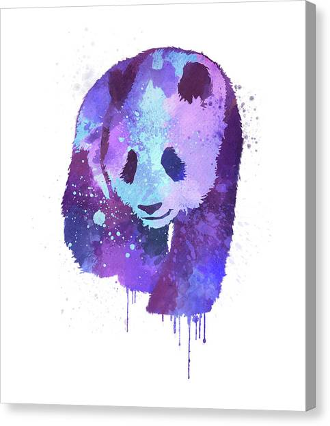 Splashy Canvas Print - Purple Watercolor Panda by Thubakabra