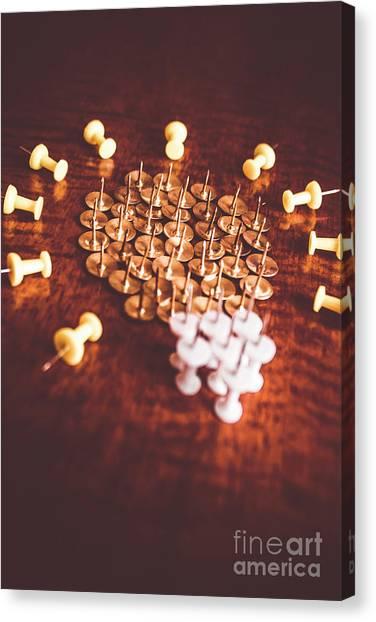 Supplies Canvas Print - Pushpins And Thumbtacks Arranged As Light Bulb by Jorgo Photography - Wall Art Gallery