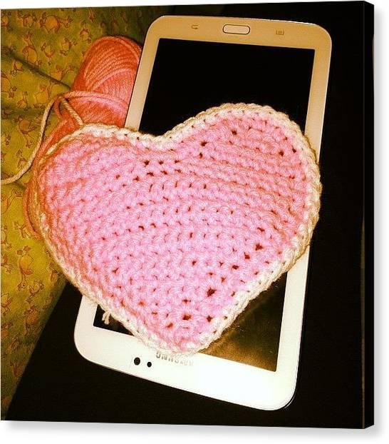 Swans Canvas Print - Pusong Pink #crochet #hobby #heart by Cynvee Swan