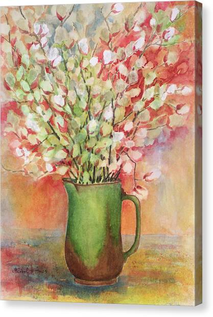 Pussy Willow And Pitcher Canvas Print