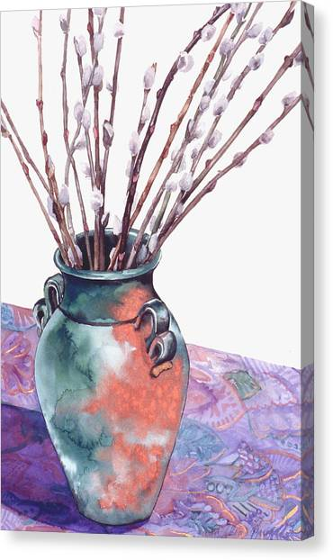 Pussy Willows Bouquet Canvas Print by Caron Sloan Zuger