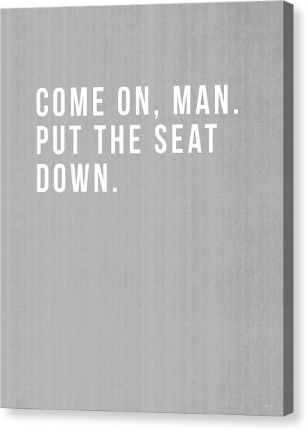 Boy Canvas Print - Put The Seat Down- Art By Linda Woods by Linda Woods