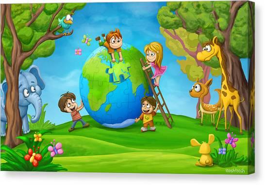 Fun Canvas Print - Puzzle World by Tooshtoosh