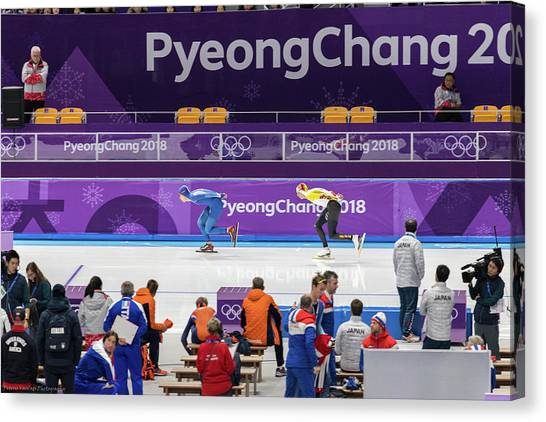 Speed Skating Canvas Print - Pyeongchang by Peteris Vaivars