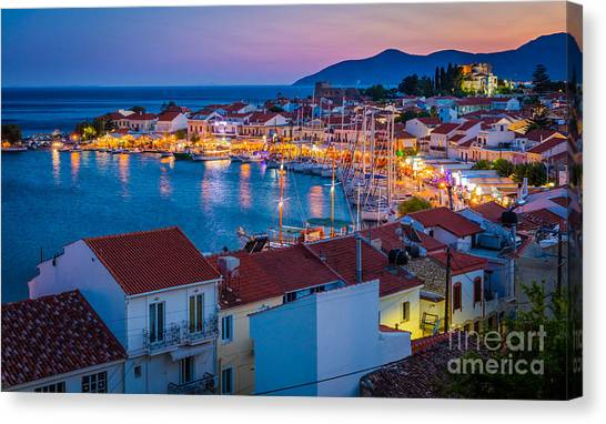 Greece Canvas Print - Pythagoreio Evening by Inge Johnsson