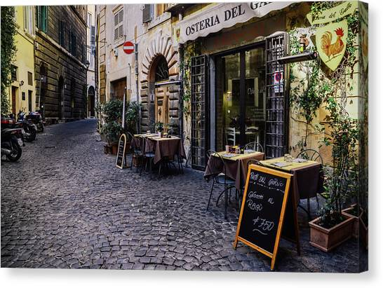Quaint Cobblestones Streets In Rome, Italy Canvas Print