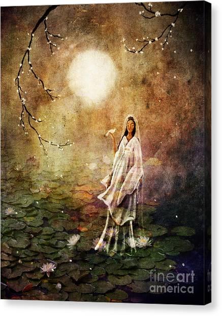 Quan Yin In A Lotus Pond Canvas Print
